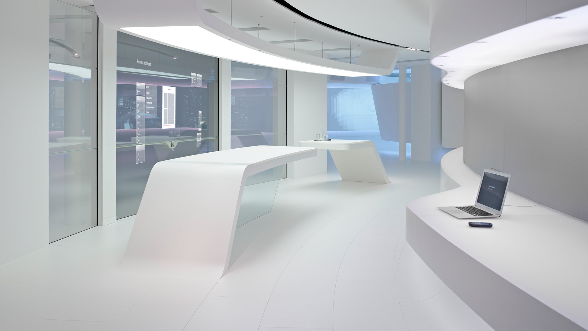 Telekom T-Gallery Interior design futuristic white design interactive glass wall