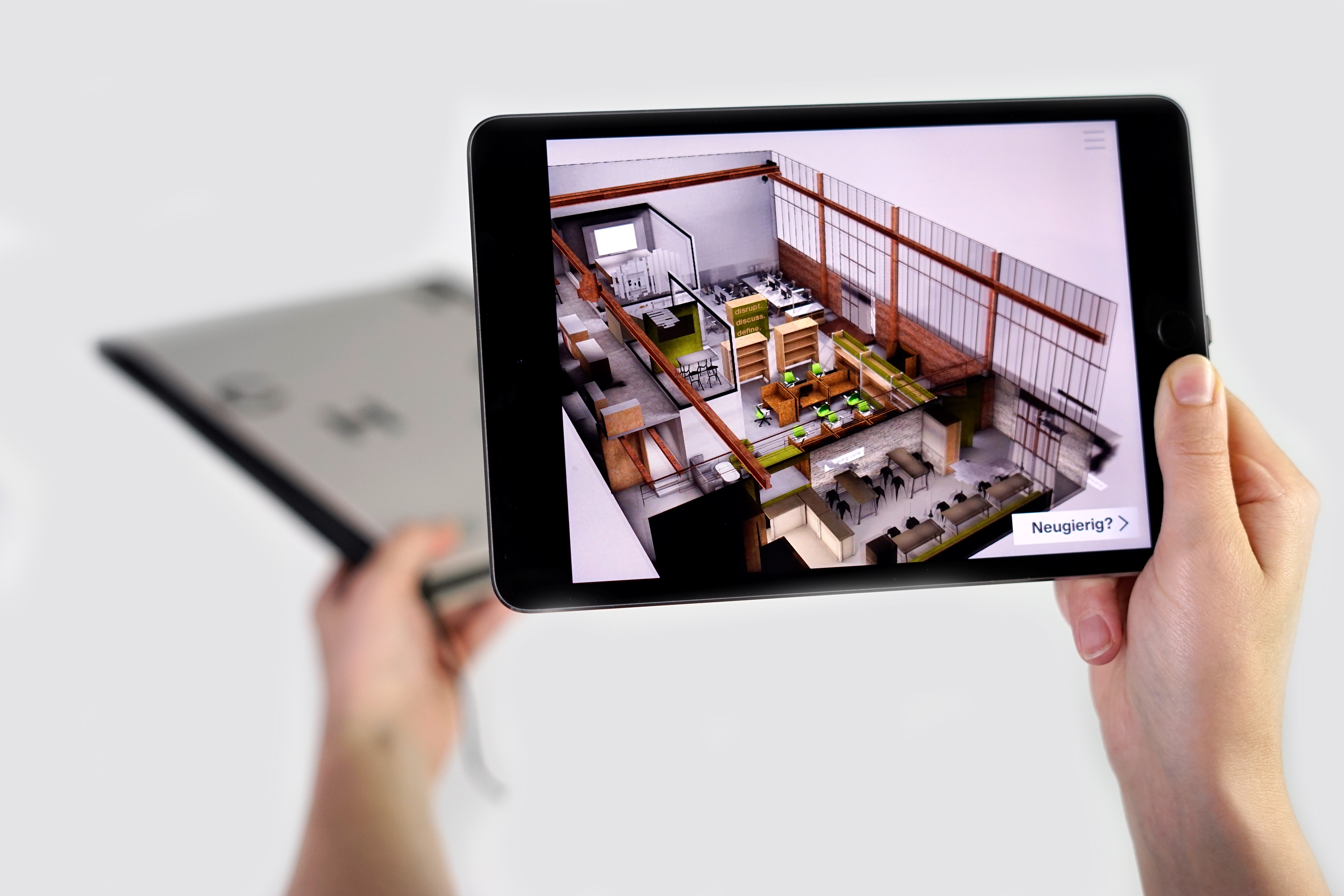 AR App on Tablet shows the furnished office as 3D visualization