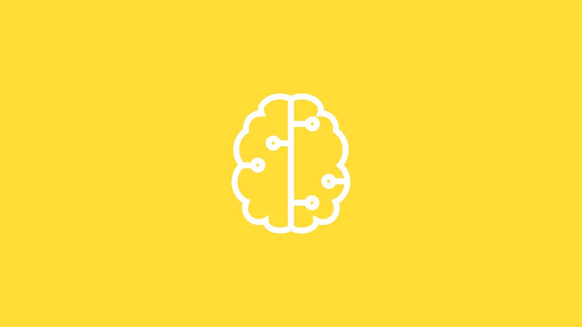 white brain icon on yellow background