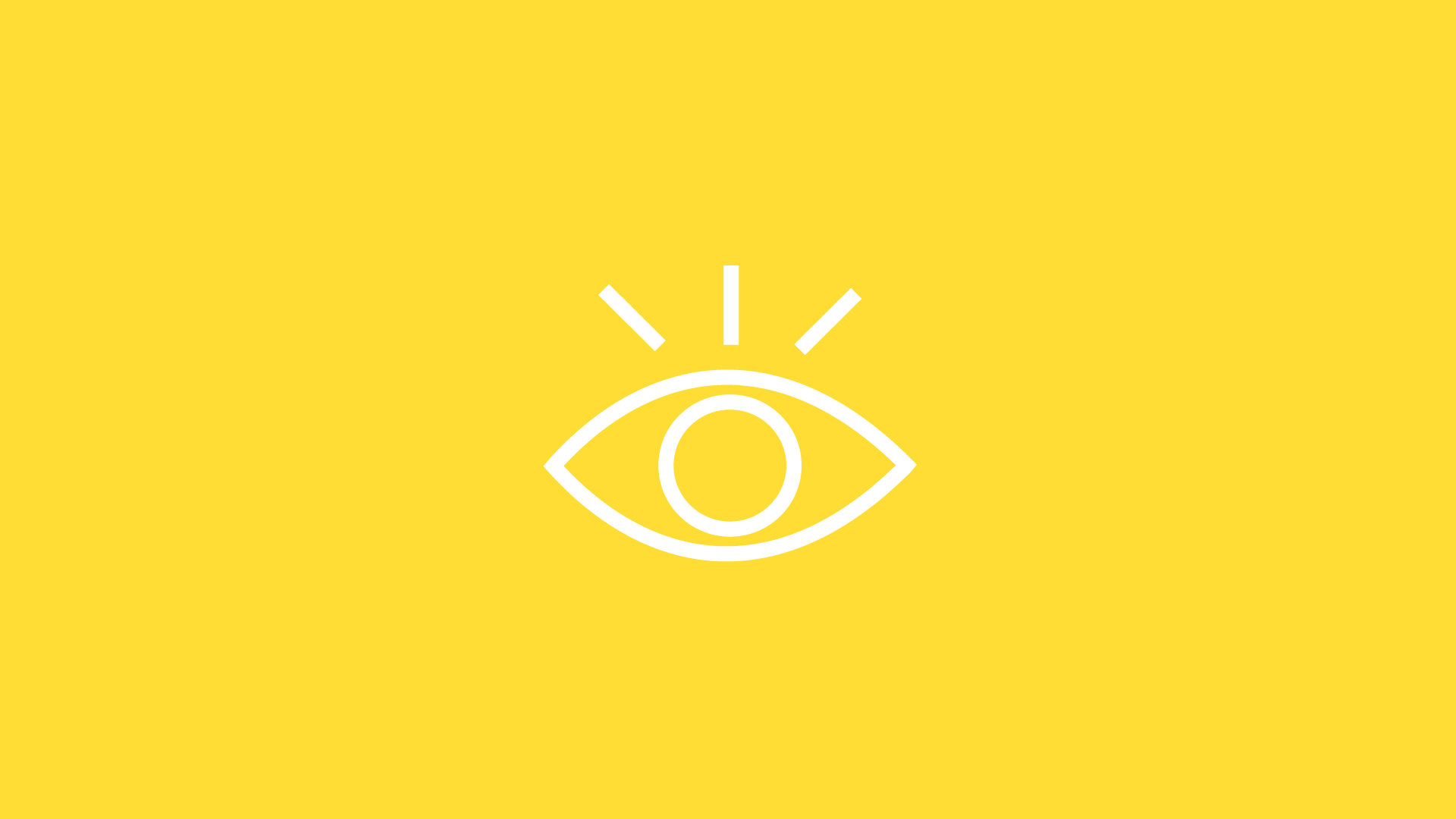 white eye icon on yellow background