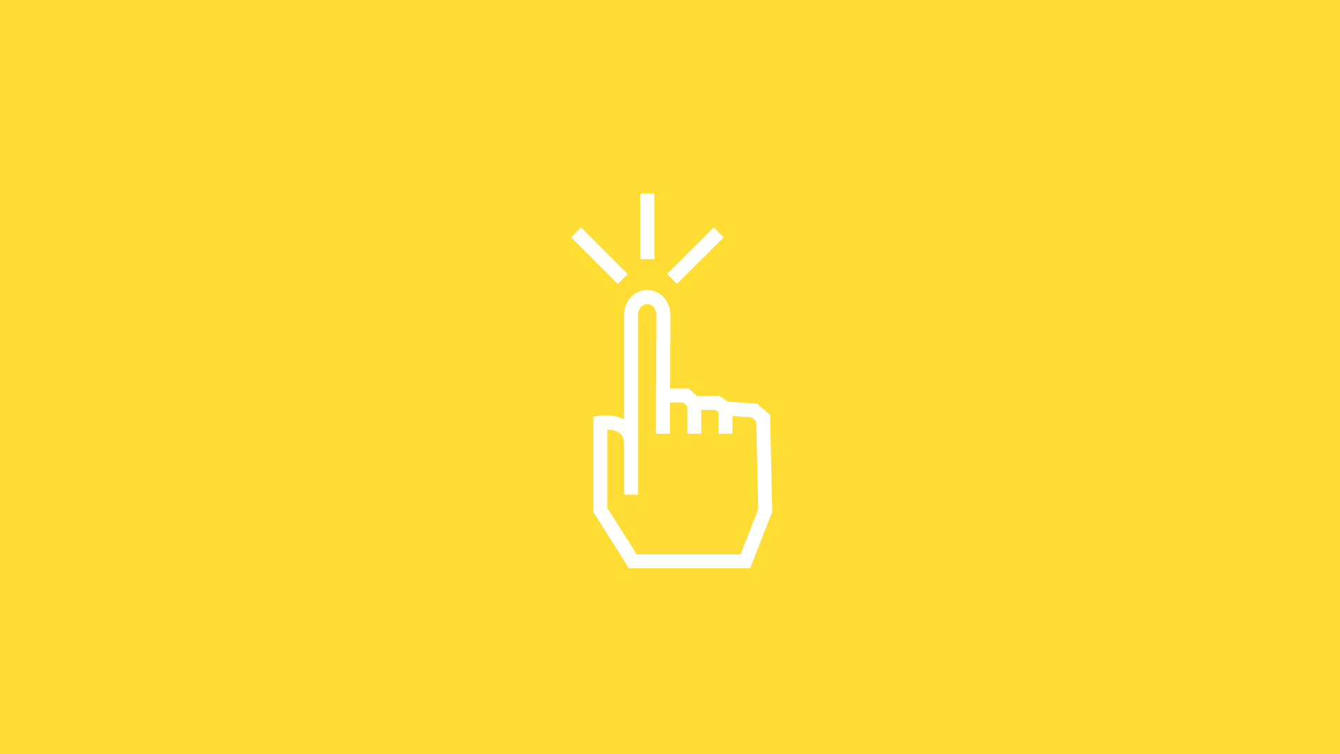 white hand icon on yellow background