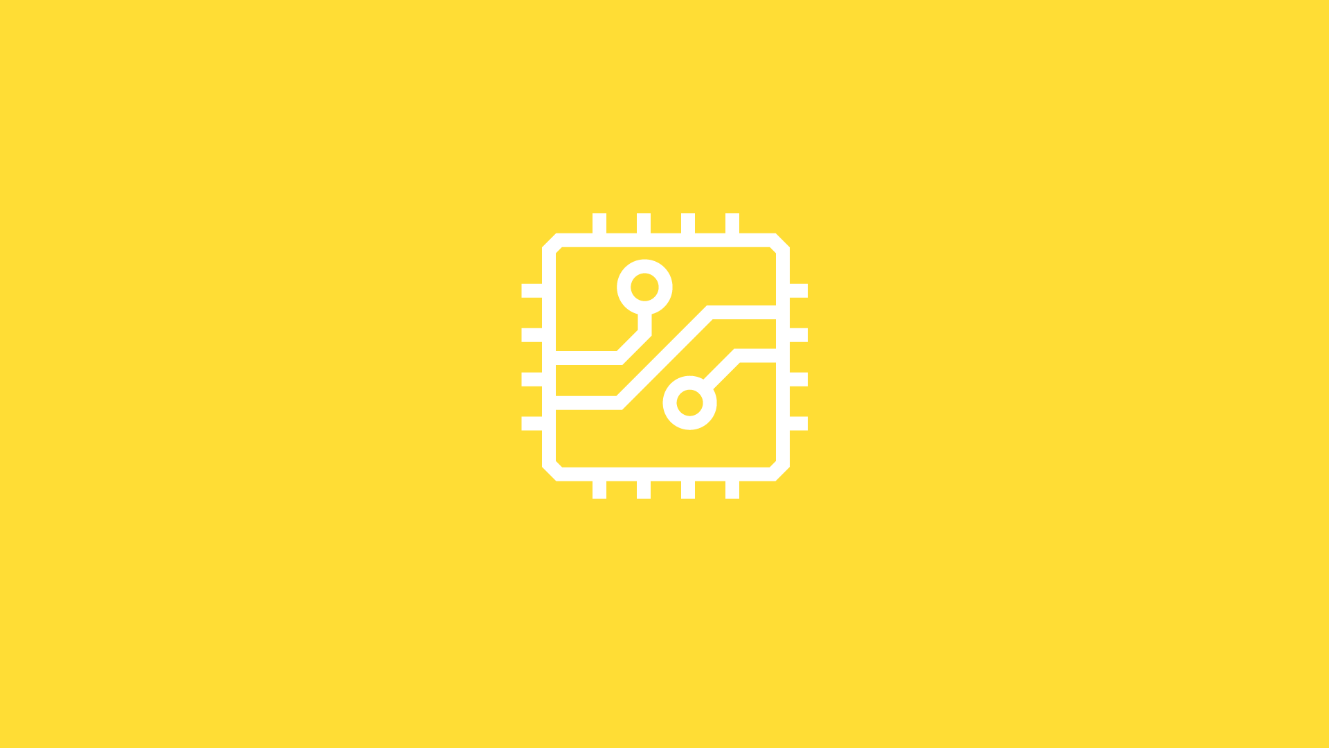 white hardware chip icon on yellow background
