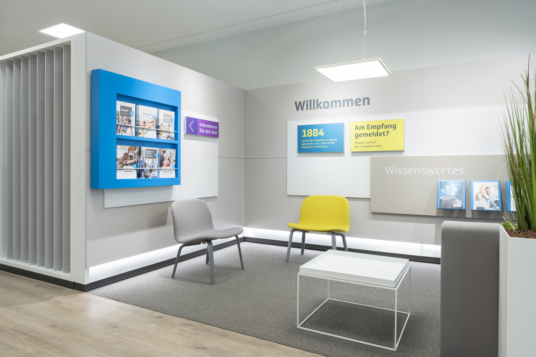Waiting area information bright with color accents