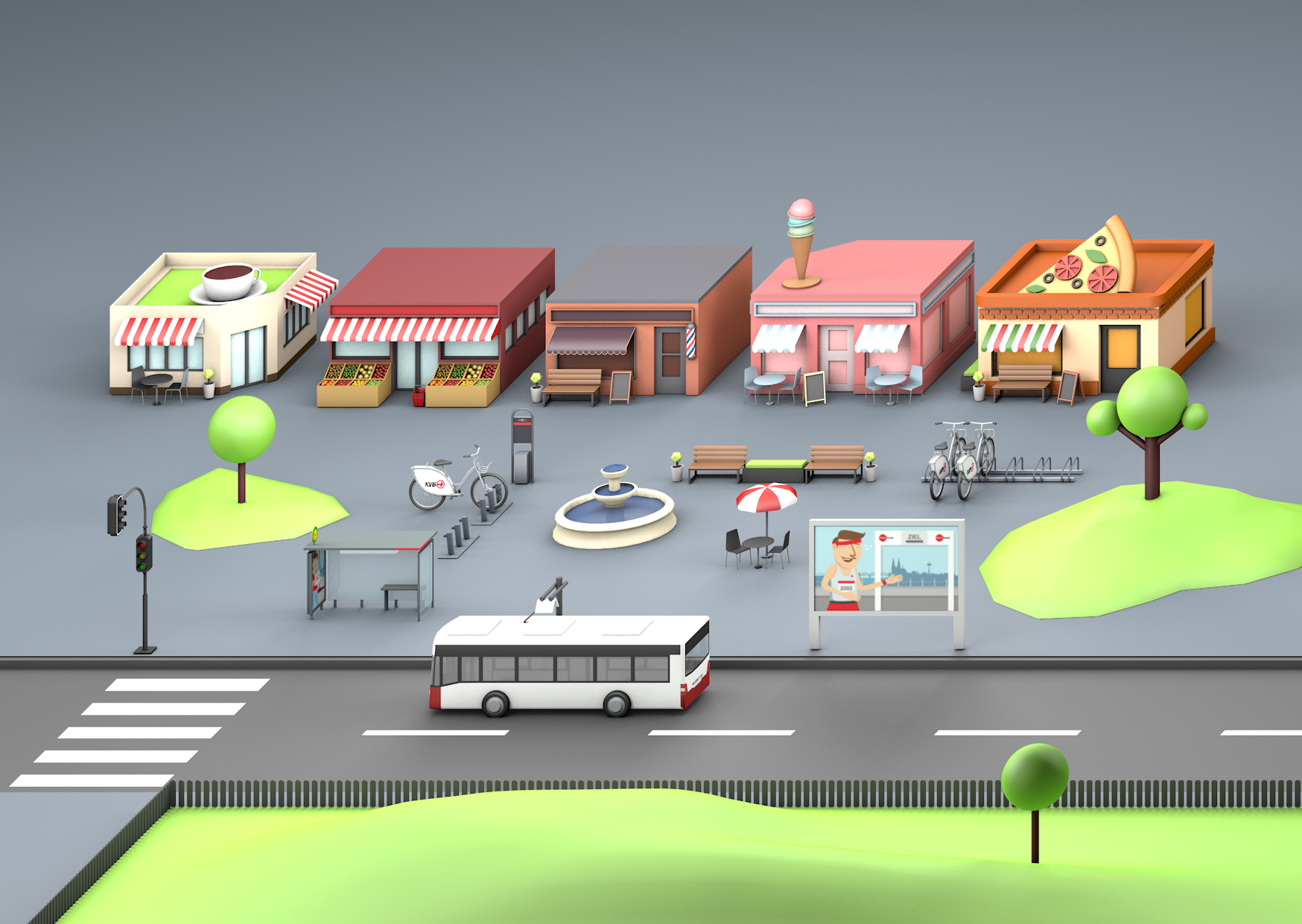 3D Rendering buildings, bus, postcard