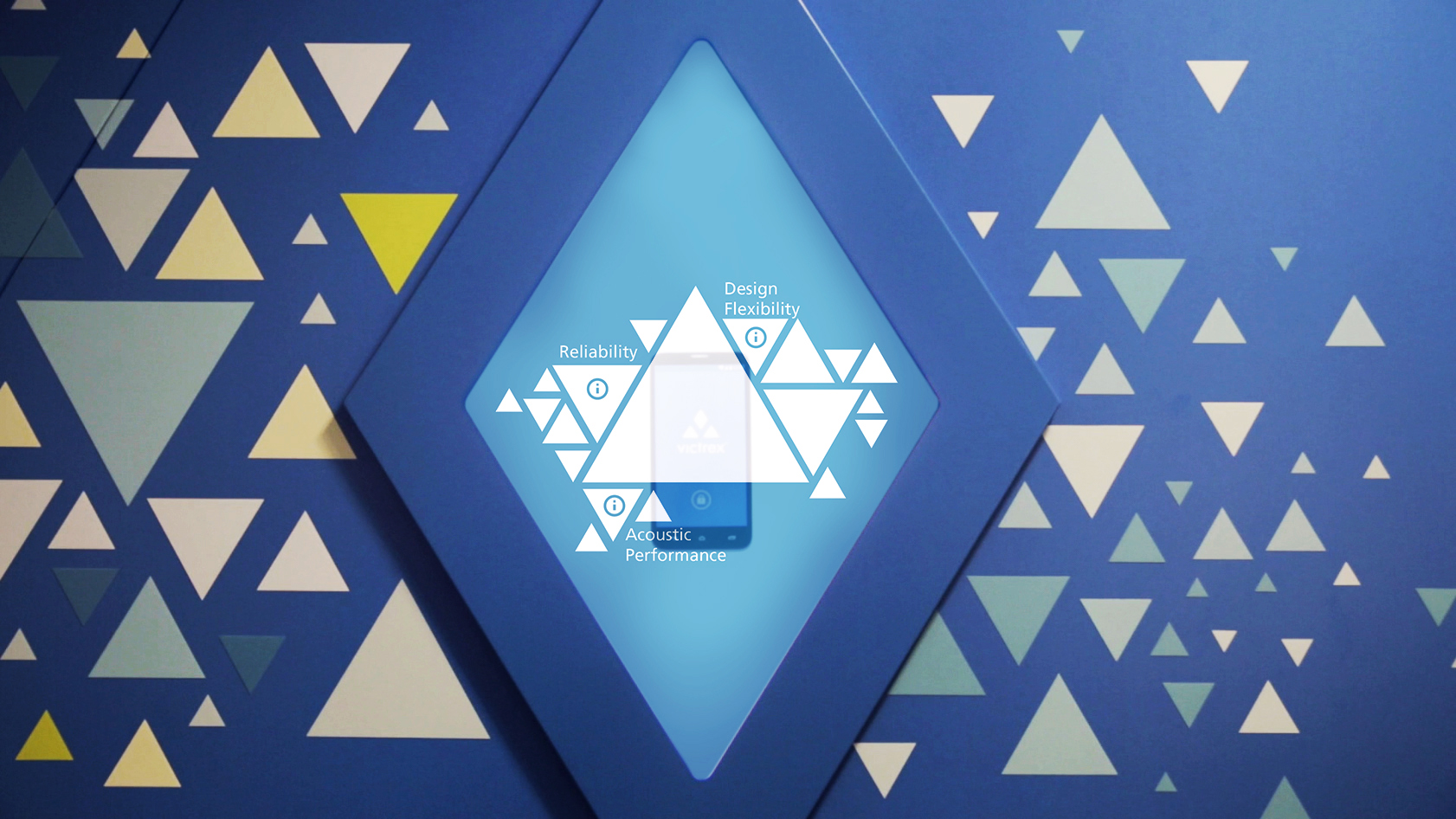 Diamond shaped screen with triangular particle graphics