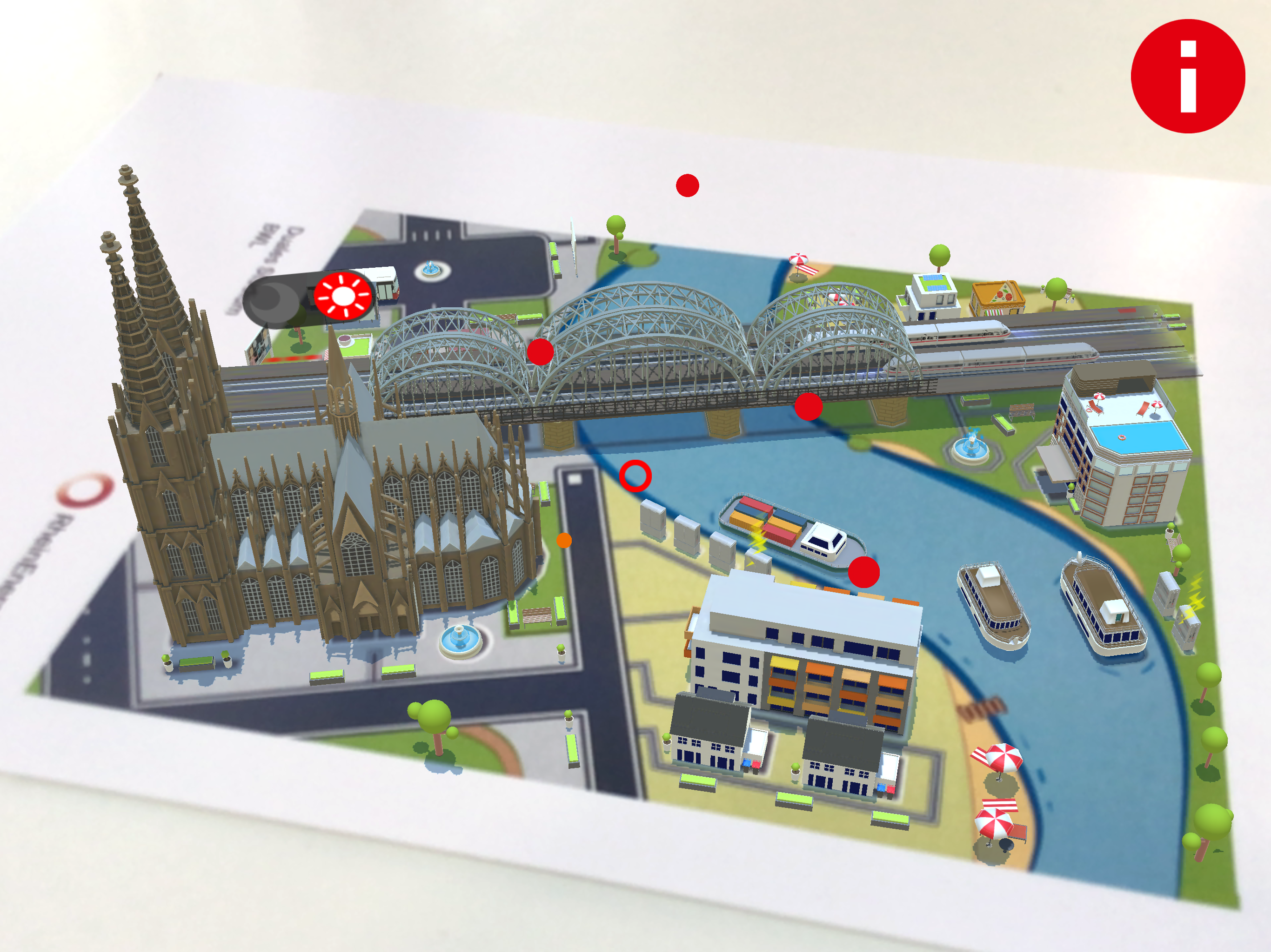 Via AR-App 3D building and Cologne Cathedral are displayed on a card