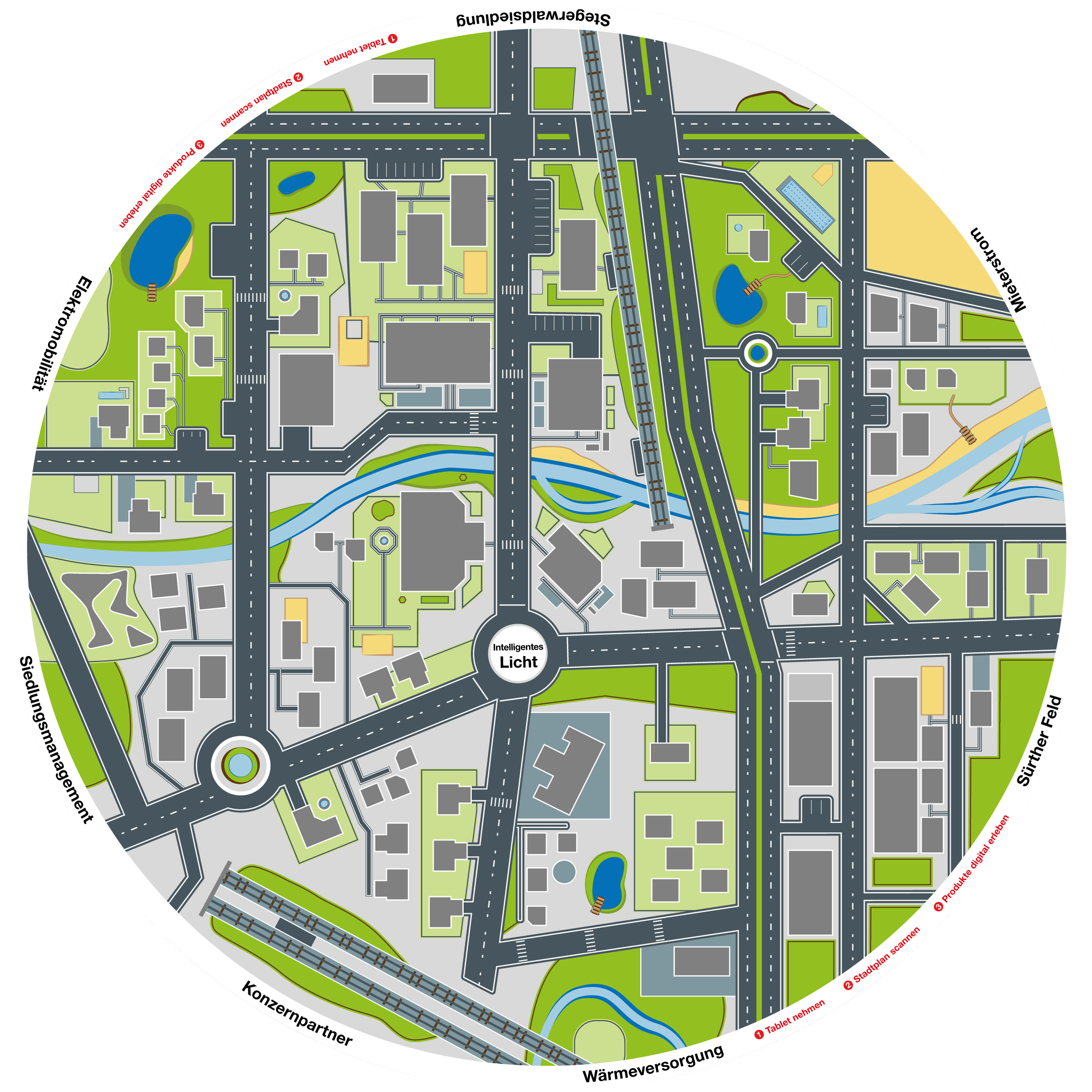 Large round illustrated city map of Cologne for the AR APP