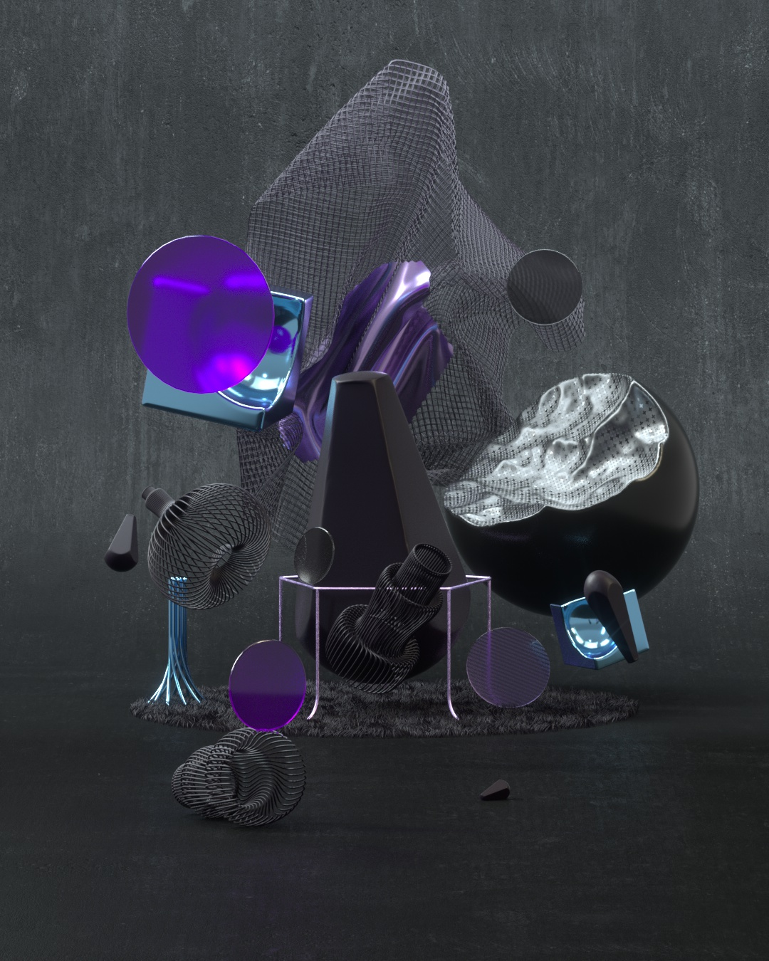 3D rendering first world black materials with purple highlights