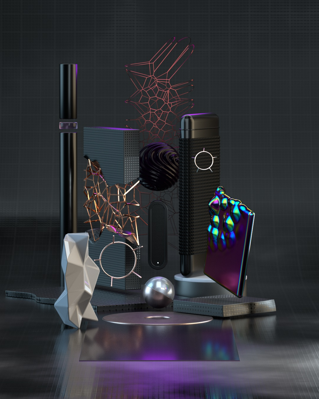 3D rendering fourth world black materials with technical objects