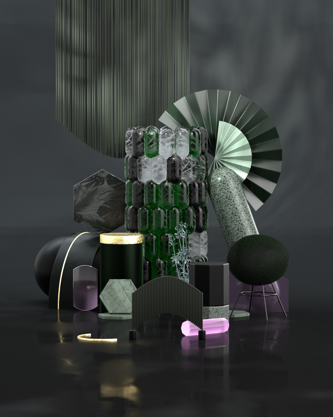 3D rendering third world black materials with green highlights