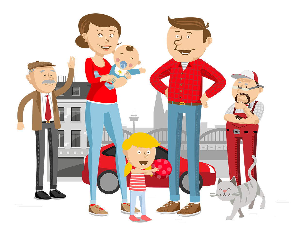 Lively Illustration of Schmitz family in vivid colours