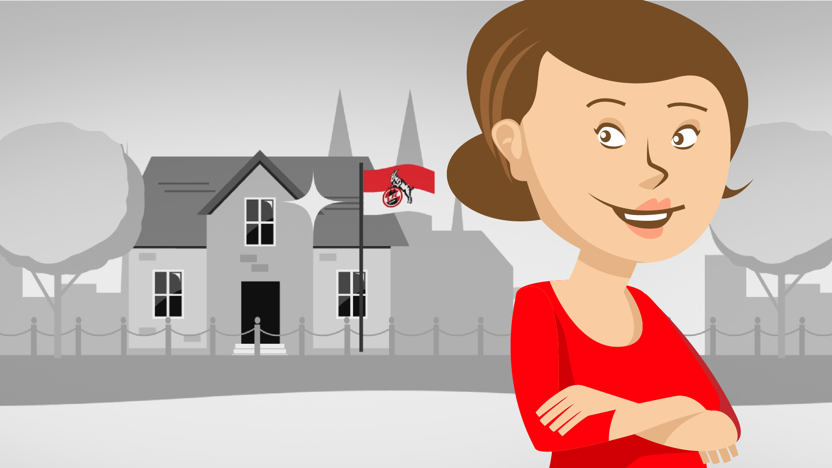 Illustration Mrs. Schmitz is in front of her House and in the background is an 1FC Cologne Flag