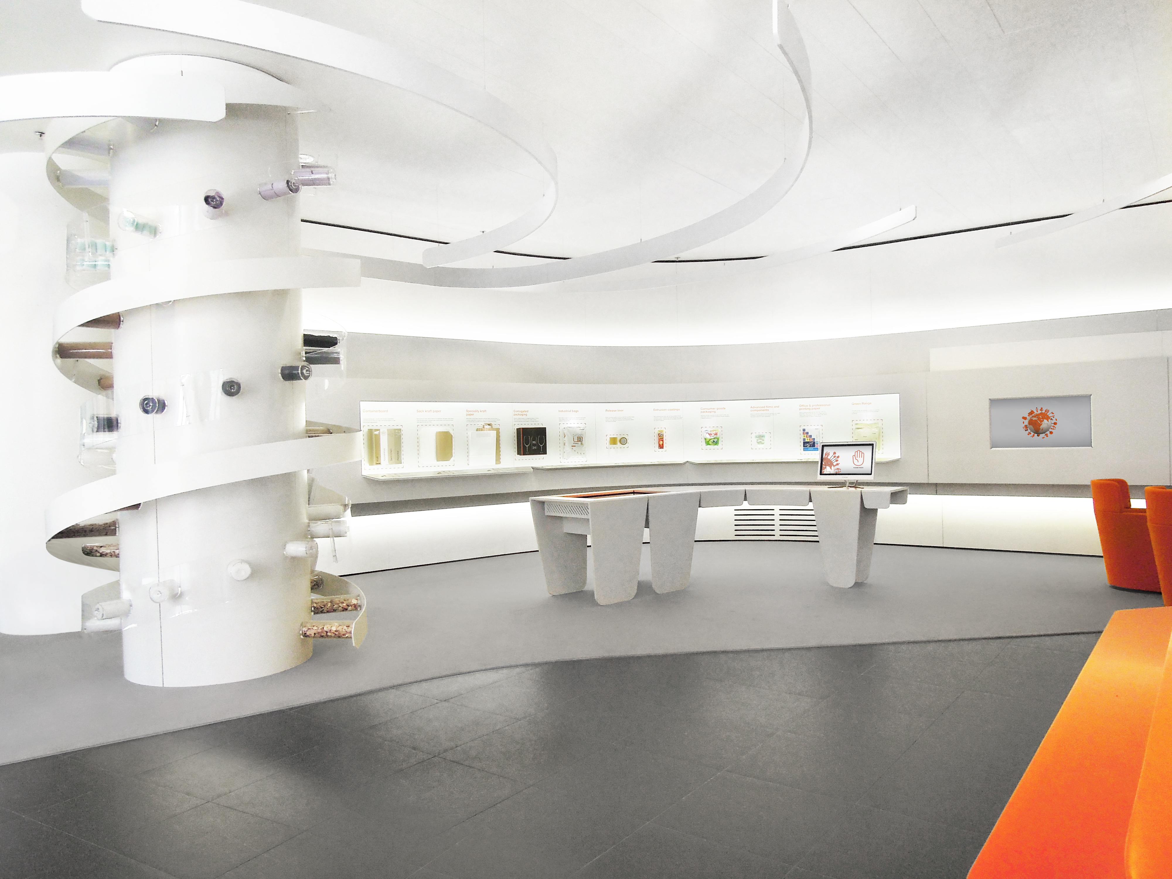 Foyer Mondi Exhibition with DNA-shaped column and view of product wall