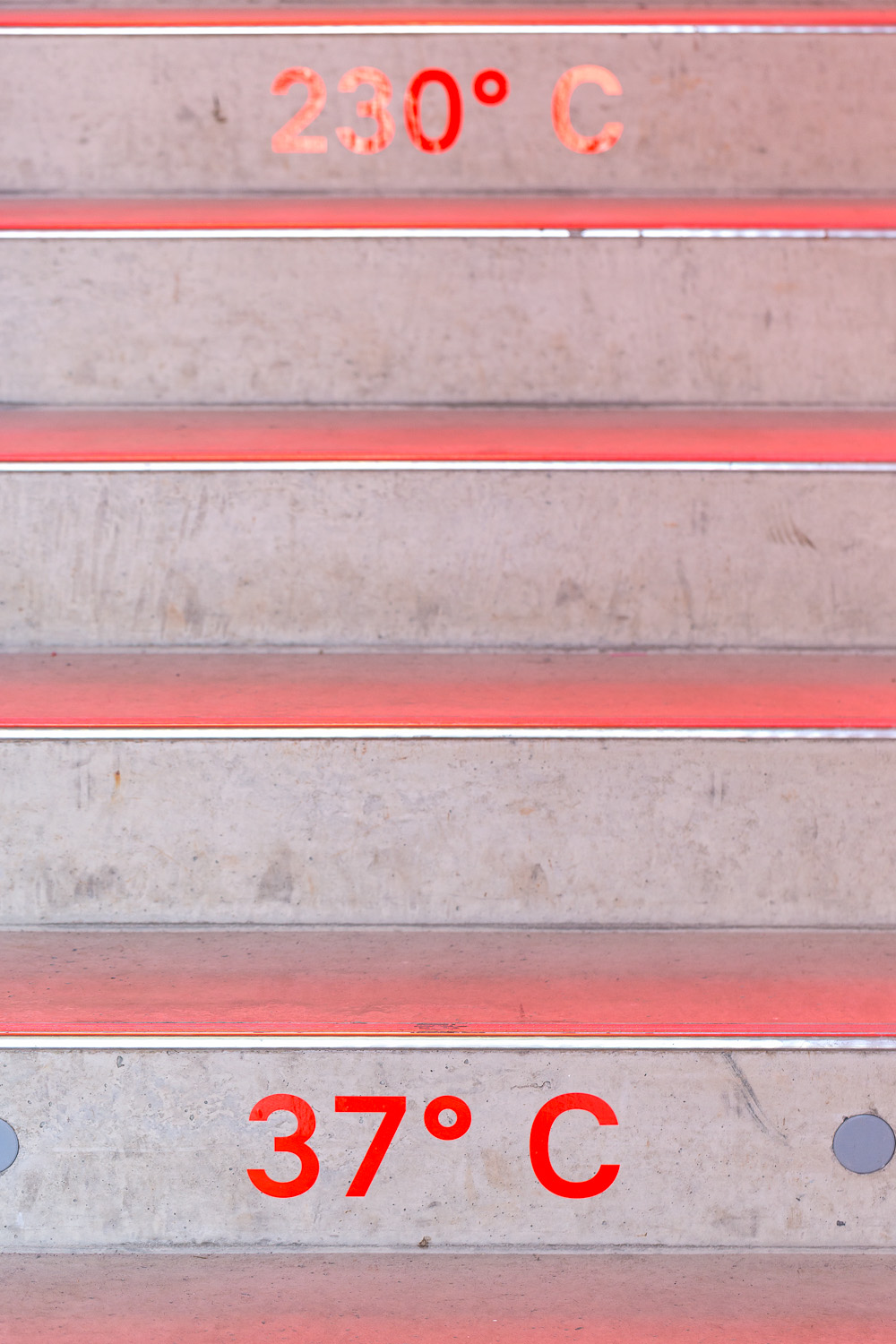 Red stairs with text