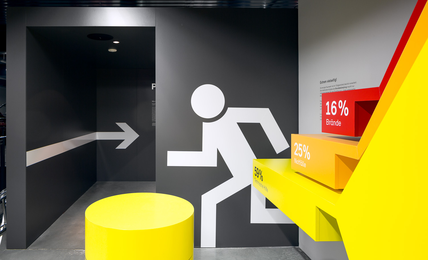 Graphical areas with oversized escape route pictogram