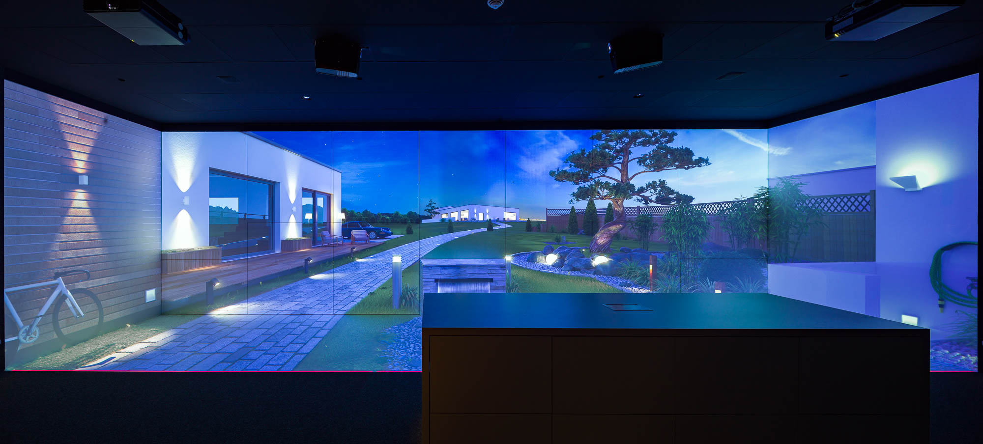 Lighting Experience Space: Virtual outdoor area with SLV lights