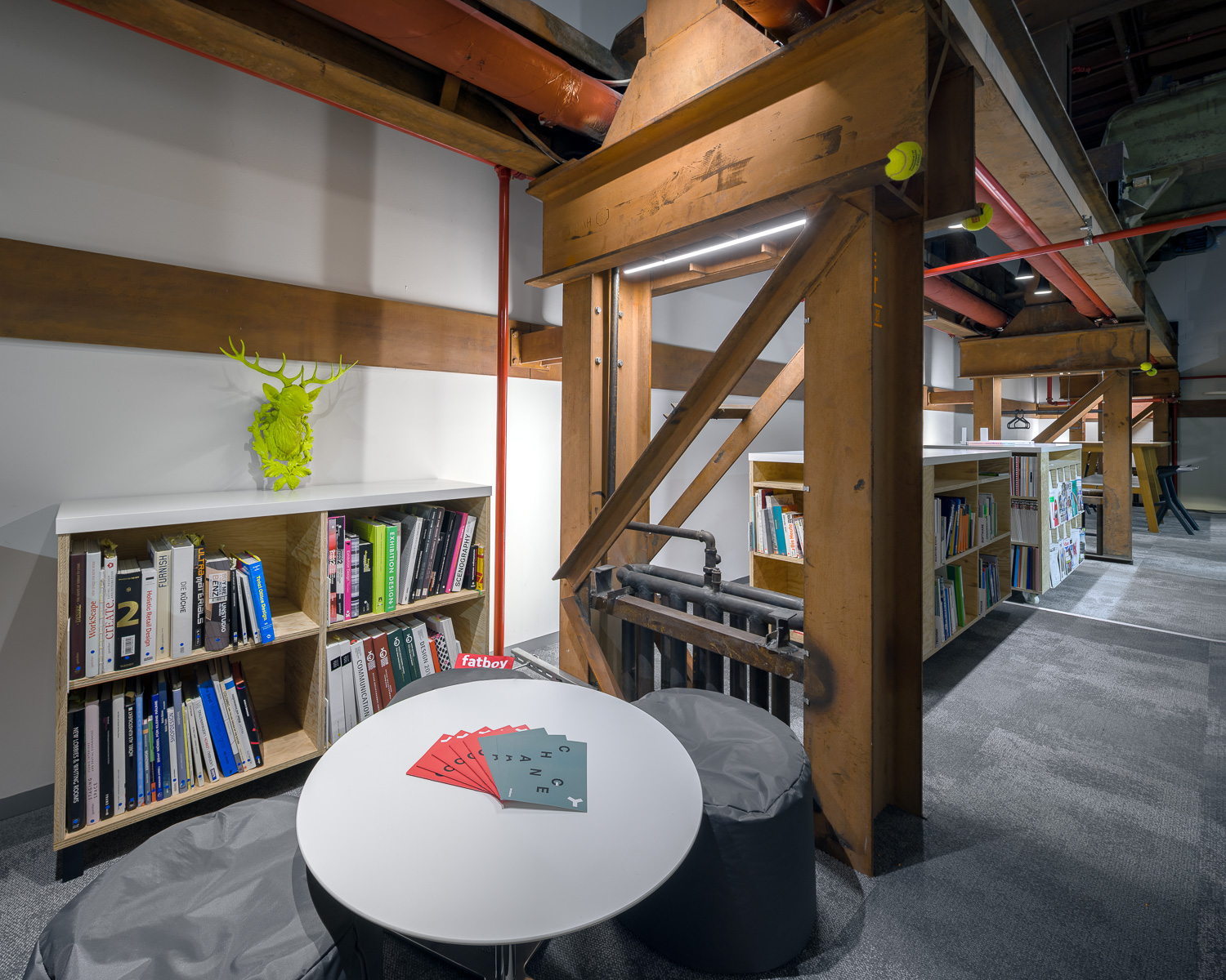 inspiring library with sitting area